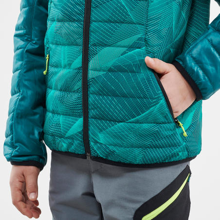 Kids' 7-15 Years Hiking Padded Jacket MH500 - Green Print