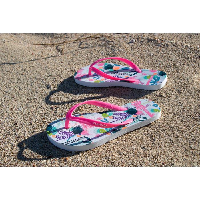 女童款夾腳拖鞋120-塗鴉花卉款白色