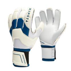 Gants de gardien de football adulte F500 blanc bleu