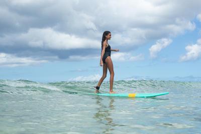 مايوه Hanalei قطعة واحدة لركوب الأمواج للبنات- Wave It Easy Black