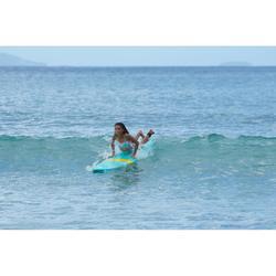 Maillot de bain 2 pièces fille de surf bandeau LILOO MAORIA BLANC ET BLEU