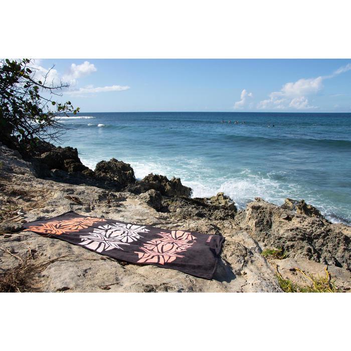 Toalla Playa Surf Olaian Negro Estampado Algodón Grande