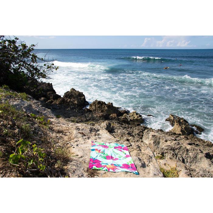 Toalla Playa Surf Olaian Verde Rosa Estampado Algodón Grande