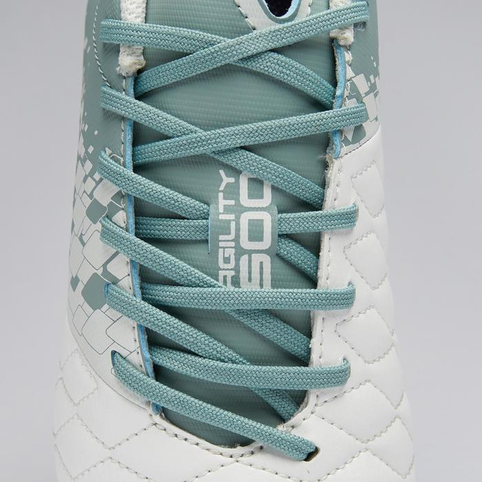 Chaussure de football femme terrains secs Agility 500 FG blanche