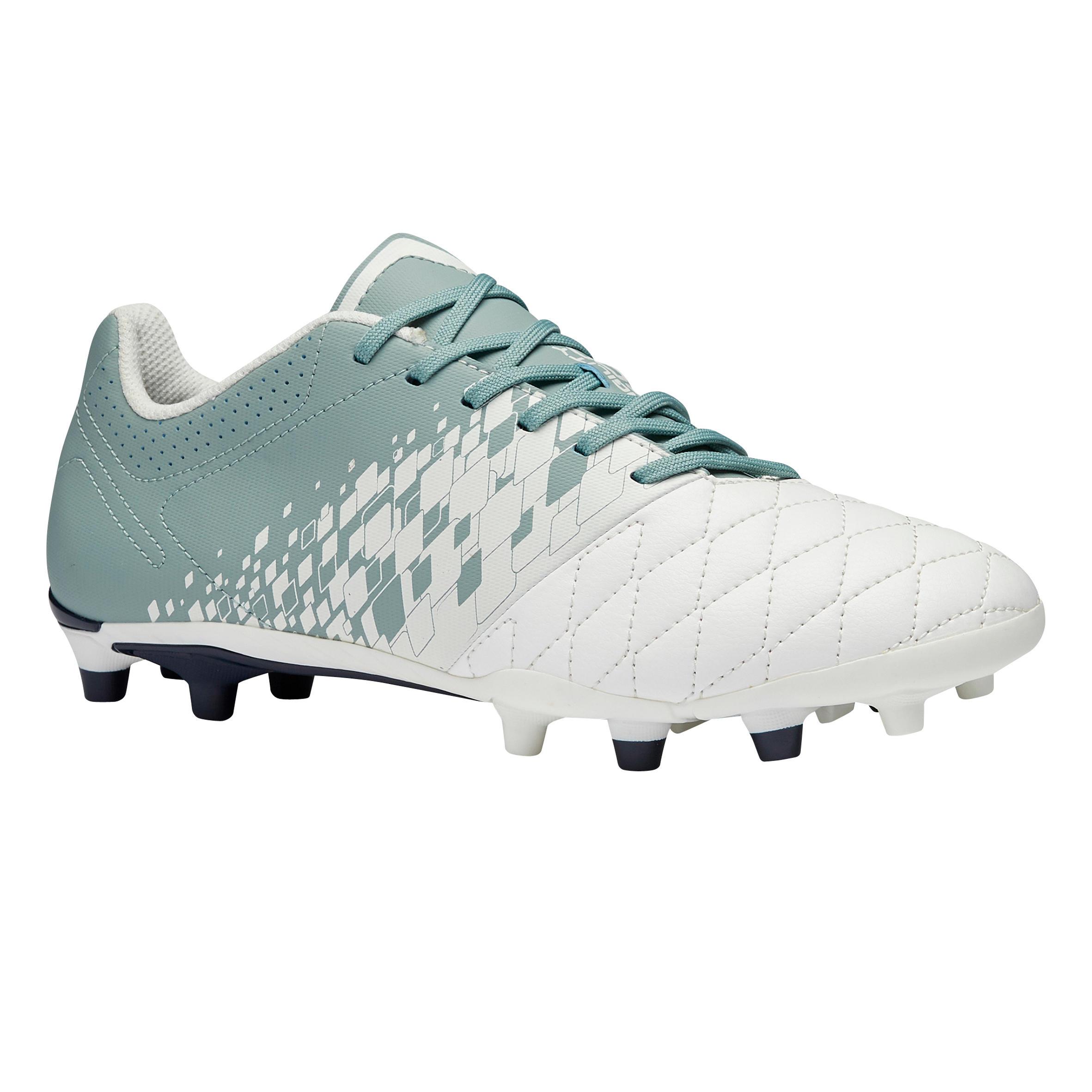 Fußballschuhe Nocken Agility 500 FG Damen weiß | Schuhe > Sportschuhe > Fußballschuhe | Weiß - Grün | Kipsta