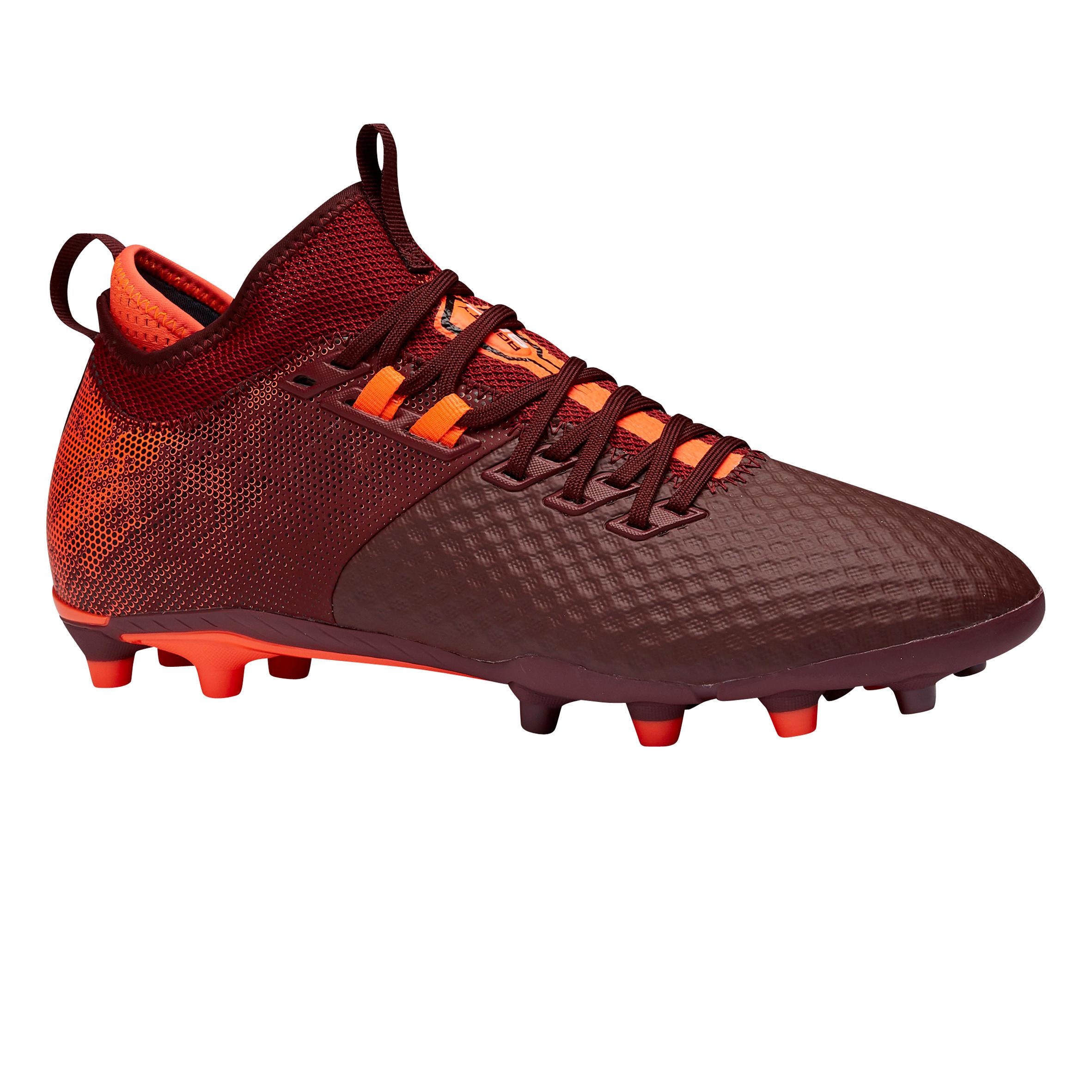 Chaussure de football adulte terrains secs agility 900 mesh mid fg bordeaux kipsta