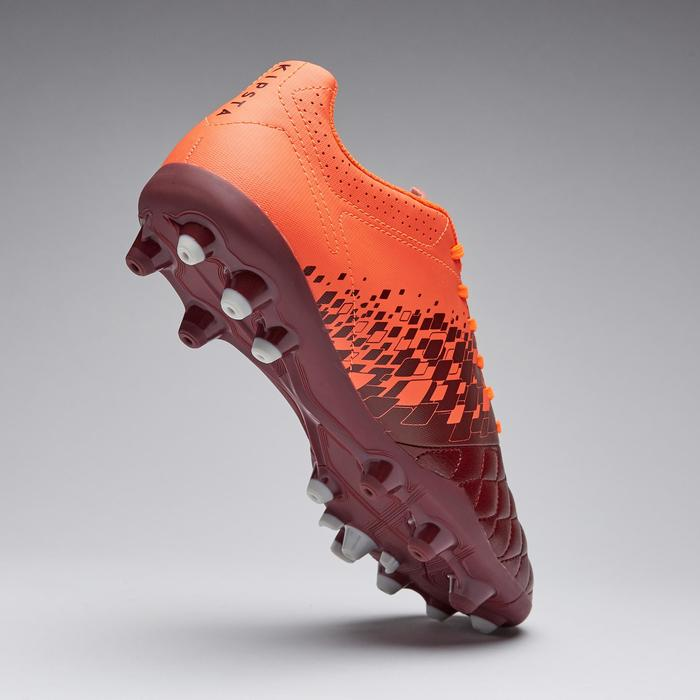 Chaussure de football adulte terrains secs Agility 500 MG bordeaux & orange