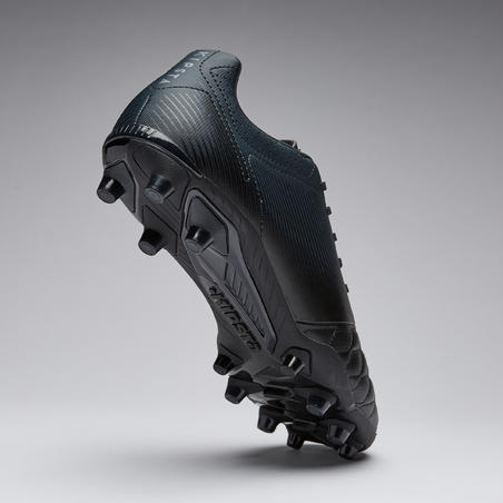 Adult Leather Firm Ground Football Boots Agility 540 - Black