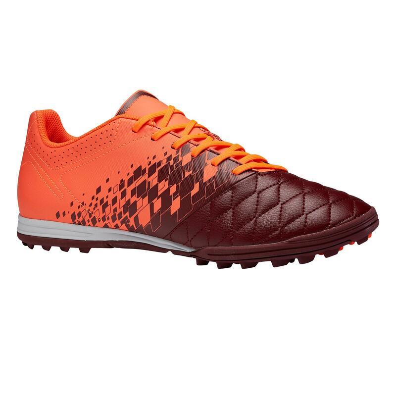 Chaussure de football adulte terrain dur Agility 500 HG bordeaux orange