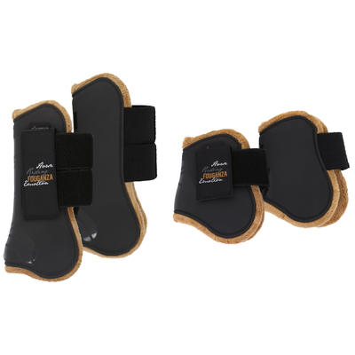 Horse Riding Set of 2 Tendon Boots + 2 Fetlock Boots for Horse - Black/Brown