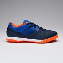 Chaussure de football enfant terrains durs à scratch AGILITY 500 bleu et marine