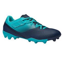 Botas de fútbol júnior tira autoadherente Agility 500 FG azul marino y turquesa