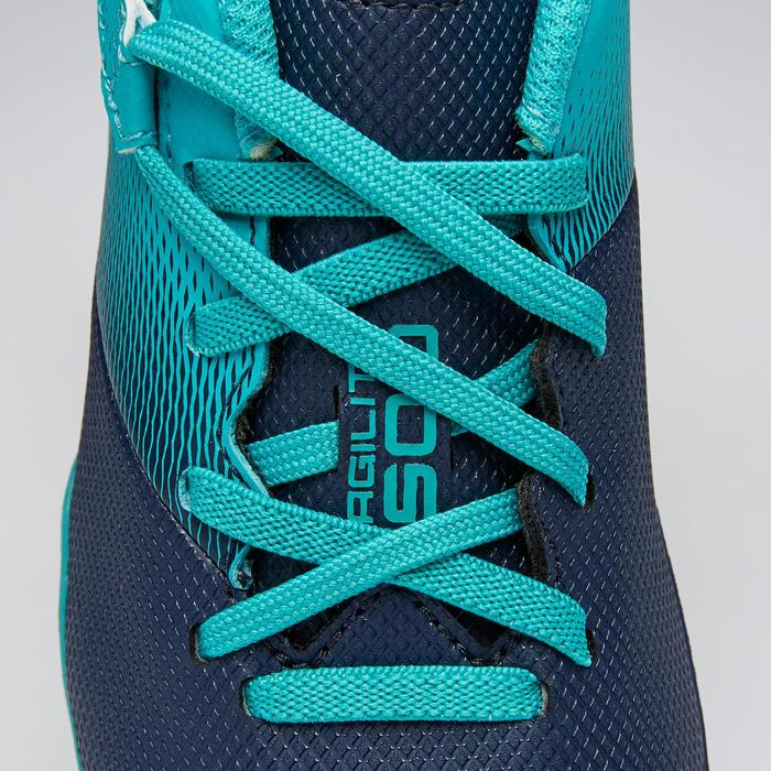 Agility 500 MG Kids' Rip-Tab Football Boots - Navy Blue/Turquoise