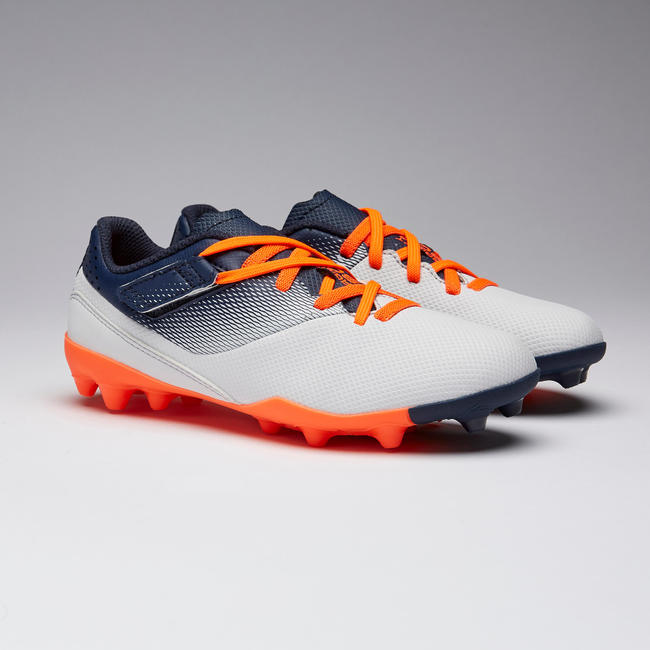 Kids' Football boots Agility 500 MG Rip-Tab - Grey/Navy Blue