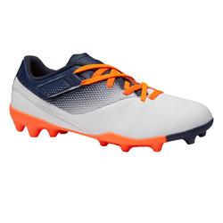Botas de fútbol júnior con tira autoadherente AGILITY 500 MG gris y azul marino