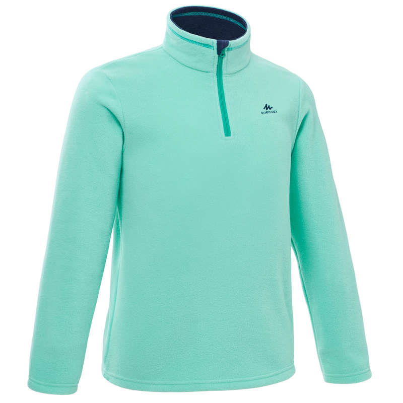 FLEECE PADDED & SOFTHELL JKT GIRL 7-15 Y Hiking - Kids' Fleece MH100 - Turquoise QUECHUA - Hiking Clothes