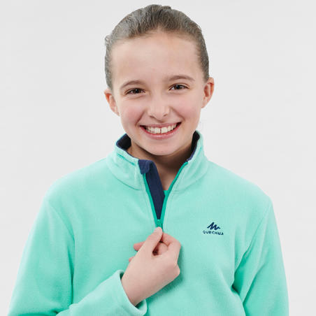 Kids' Hiking Fleece - MH100 Aged 7-15 - Turquoise