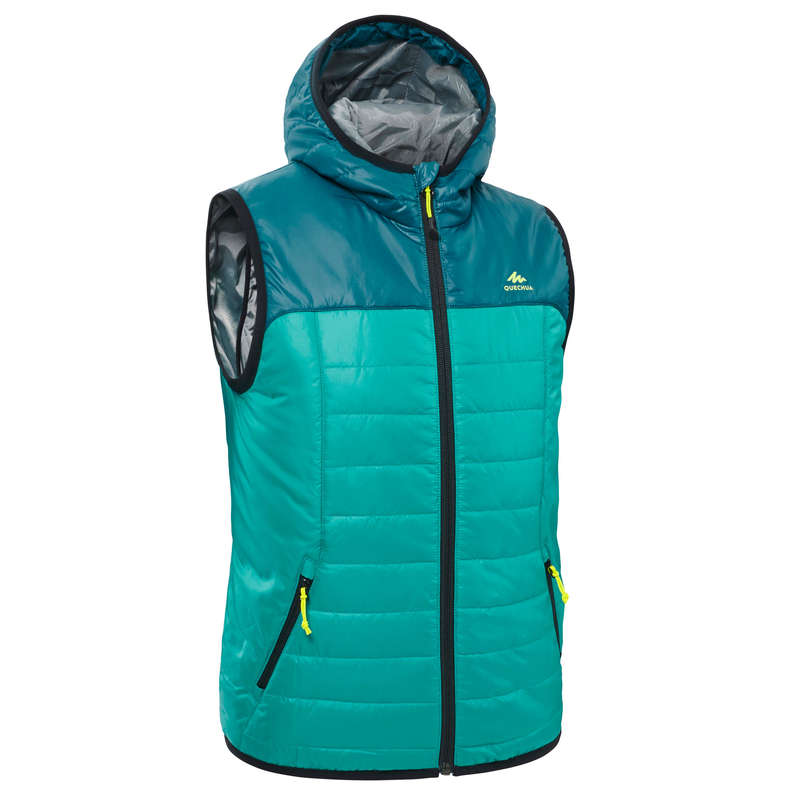 FLEECE PADDED & SOFTHELL JKT GIRL 7-15 Y Hiking - Kids' Gilet MH500 - Turquoise QUECHUA - Hiking Jackets
