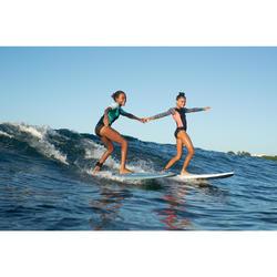 Top Camiseta Proteción Solar Playa Surf Olaian Niño Verde Nube Negro Verde