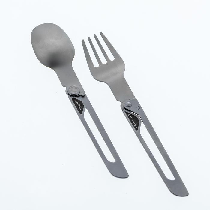 Cubiertos plegables (tenedor, cuchara) campamento itinerante MH500 acero inox