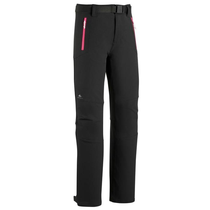 Softshellhose Wandern MH550 Kinder 123-166cm schwarz/pink