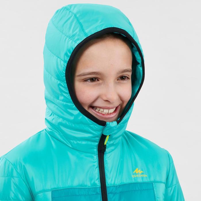 Doudoune de randonnée enfant MH500 turquoise print 7- 15 ans