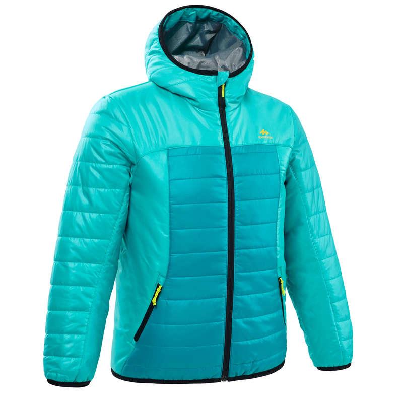 FLEECE PADDED & SOFTHELL JKT GIRL 7-15 Y Hiking - Kids' Padded Jkt MH500 - Green QUECHUA - Hiking