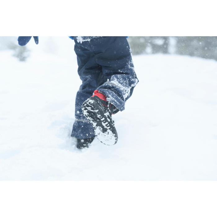 兒童款中筒保暖魔鬼氈雪地健行靴SH100-藍色
