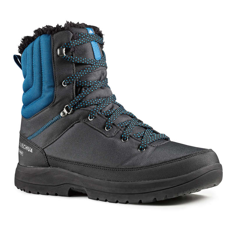 MEN SNOW HIKING WARM SHOES & GRIPS Hiking - M SHS WARM HIGH SH100 - GRY BL QUECHUA - Outdoor Shoes