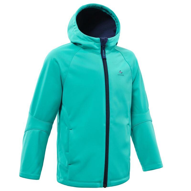 Softshell jas voor wandelen kinderen MH550 turquoise 2- 6 jaar
