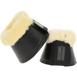 2 open springschoenen met schapenvacht ruitersport zwart voor pony's en paarden