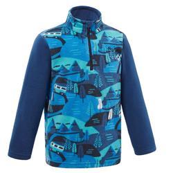 2到6歲兒童款健行刷毛外套MH100-藍色印花款