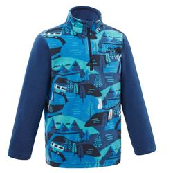 KIDS' CN HIKING FLEECE MH100 - BLUE PRINT 2-6 years