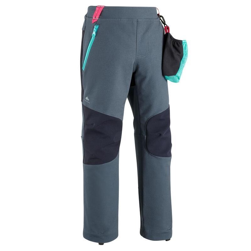 Dětské turistické softshellové kalhoty MH550 šedé