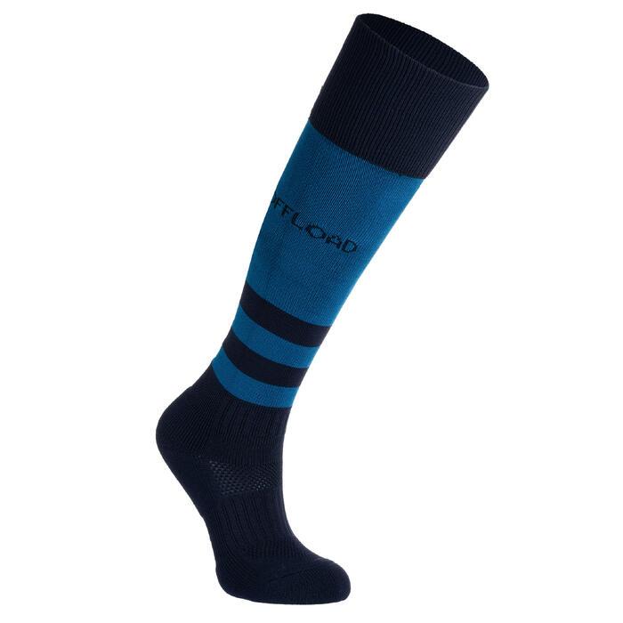 Hoge rugbysokken voor kinderen R500 blauw