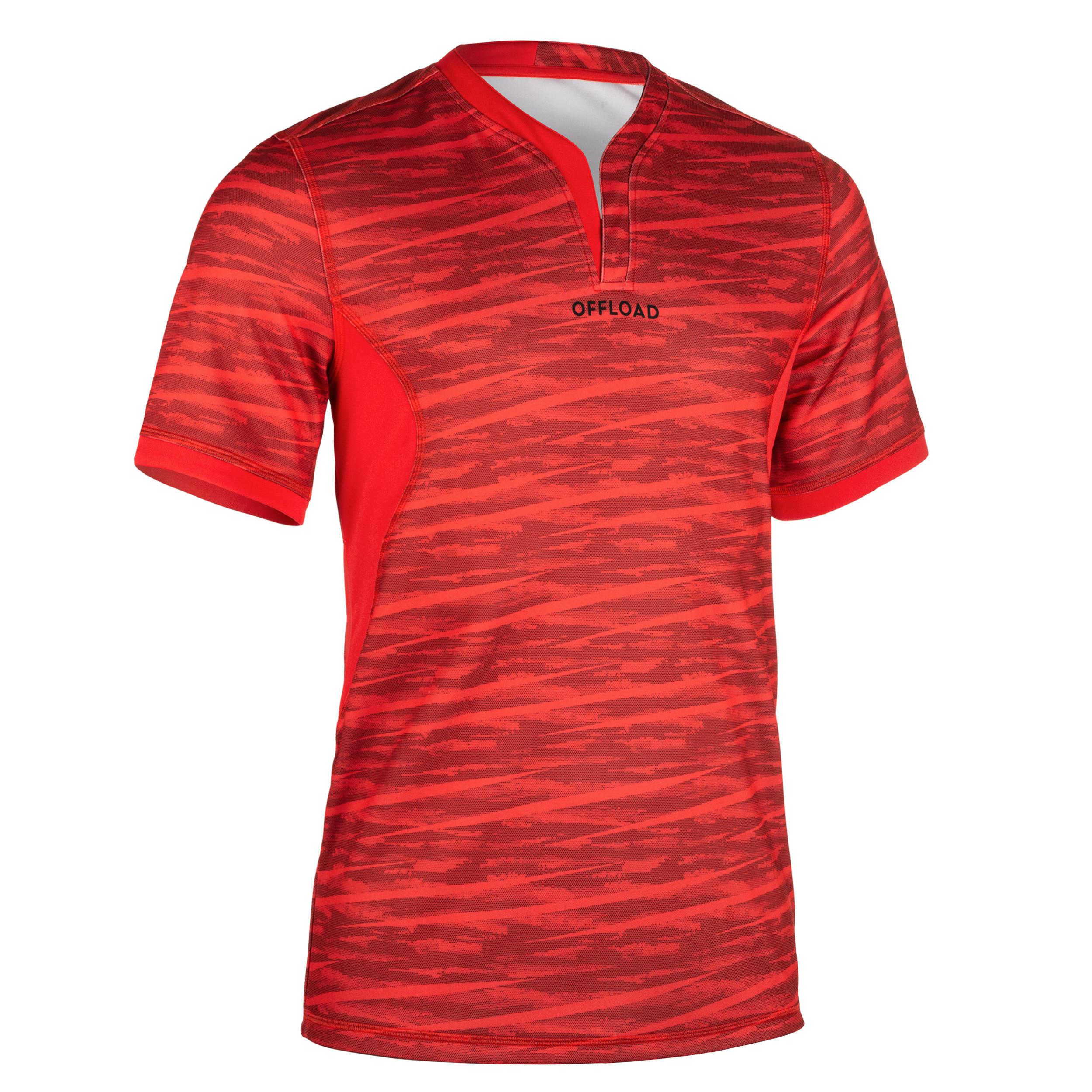 Rugby-Trikot R500 Herren rot | Sportbekleidung > Trikots > Sonstige Trikots | Rot - Schwarz | Trikot | Offload