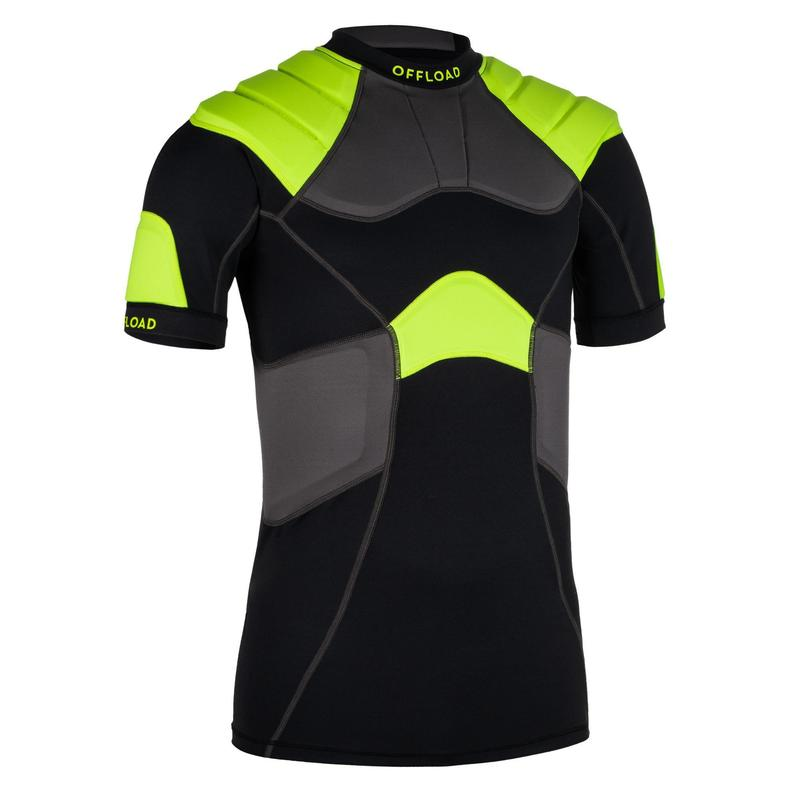 Adult Rugby Shoulder Pads R100 - Black/Yellow