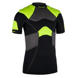 成人款橄欖球肩胸墊R100 - 黑黃配色