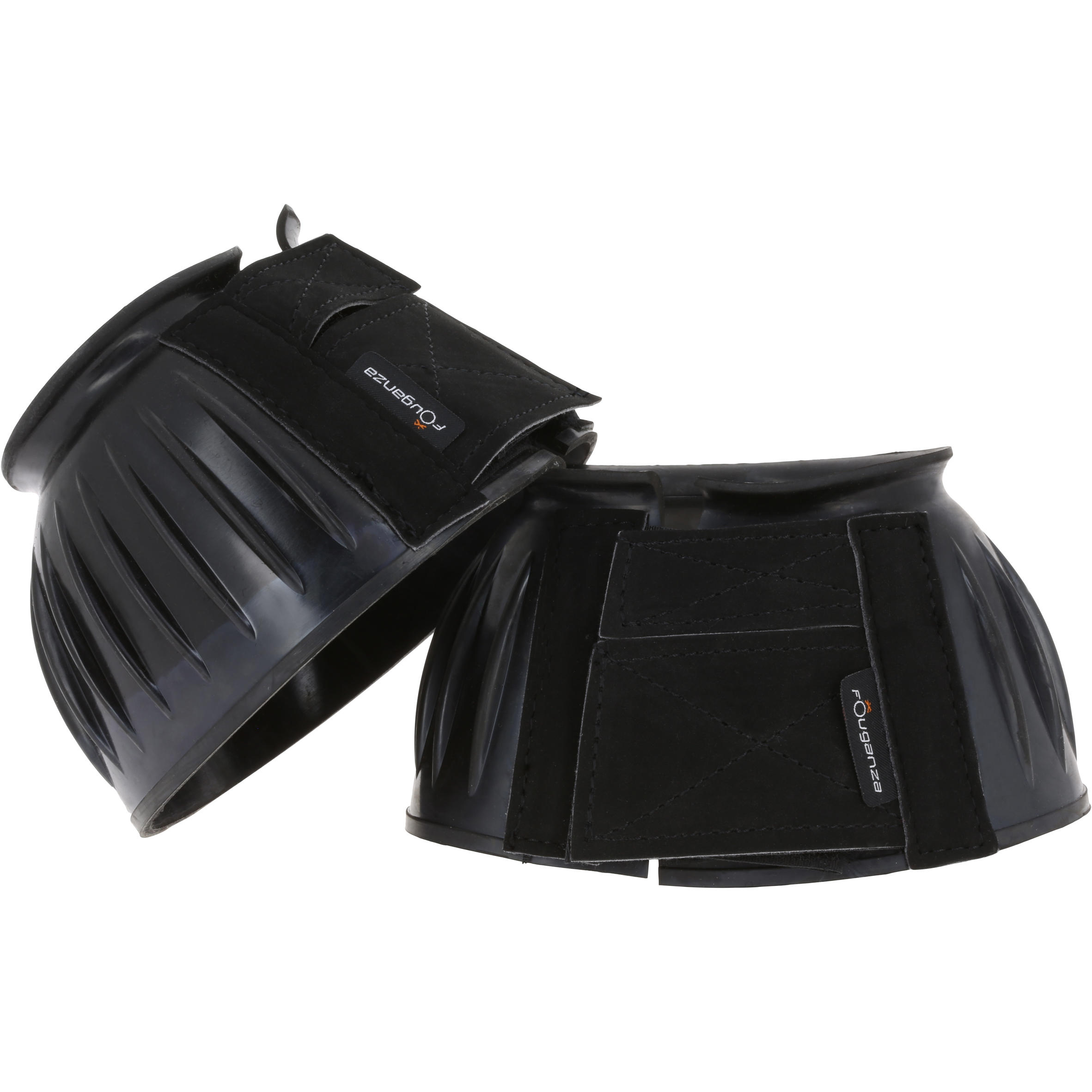 Horseback Riding Open Rubber Overreach Boots for Horse & Pony Twin-Pack - Black