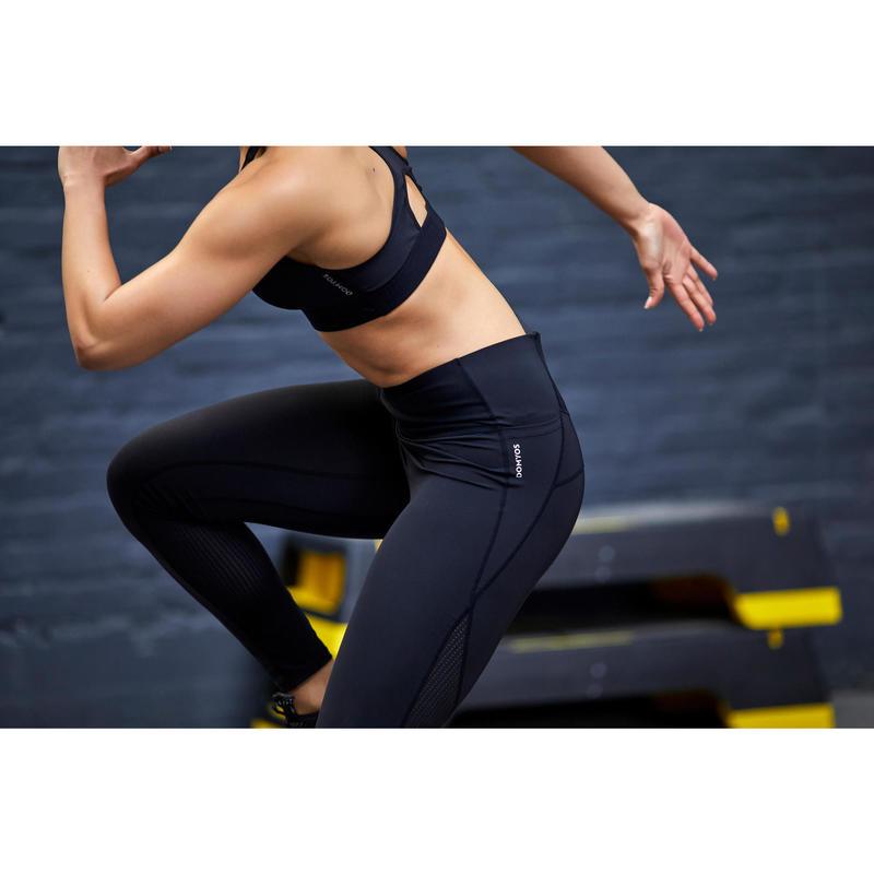 Leggings Donna Cardio Fitness 500 Neri Domyos By Decathlon