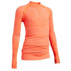 Voetbalondershirt voor kinderen lange mouwen Keepdry 500 fluo-oranje