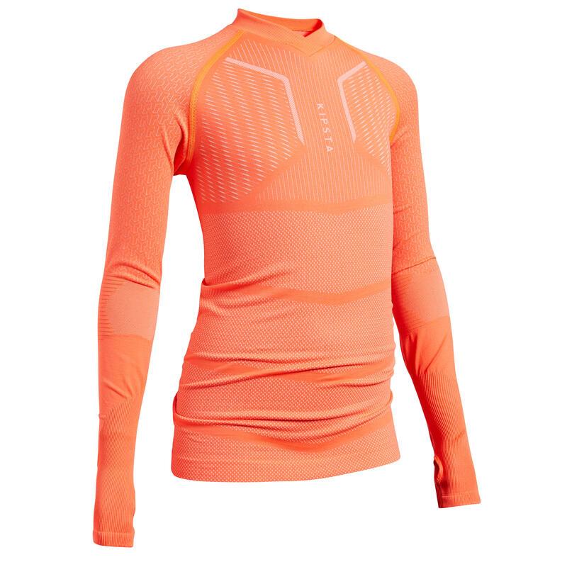 Kids' Long-Sleeved Base Layer Football Top Keepdry 500 - Neon Orange