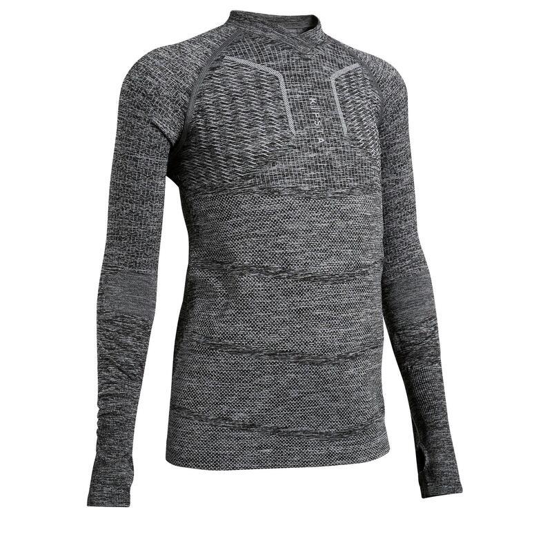 Thermoshirt kind Keepdry 500 lange mouw gemêleerd grijs