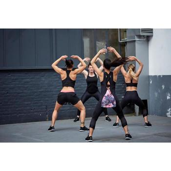 2-in-1 fitnesstopje voor dames 500 zwart met print