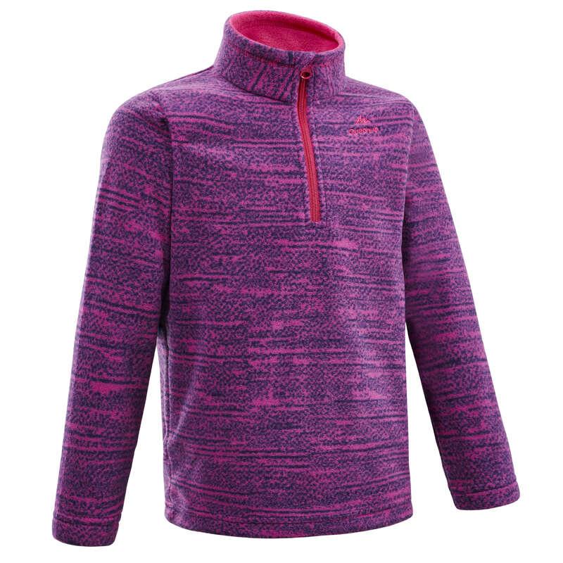 CHILDREN MOUNTAIN HIKING FLEECES, SOFT Hiking - MH120 TW Fleece - Purple QUECHUA - Hiking Clothes