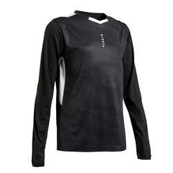 Voetbalshirt met lange mouwen kinderen F500 zwart