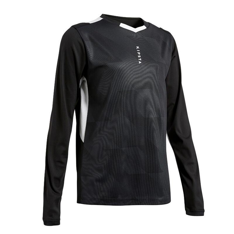 Camiseta Manga Larga Fútbol Kipsta F500 niños negro