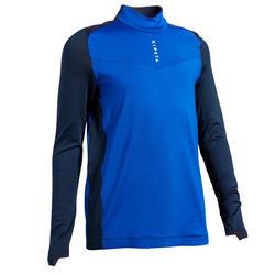 兒童款半開式拉鍊足球運動衫T900-藍色配軍藍色