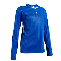 兒童款足球長袖上衣F500-軍藍色