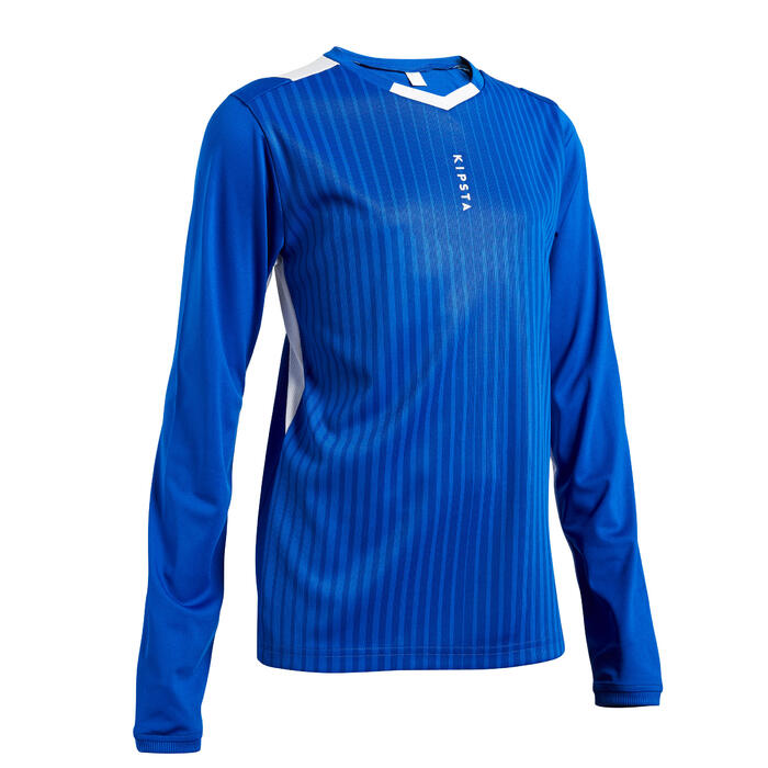 Voetbalshirt met lange mouwen voor kinderen F500 marineblauw